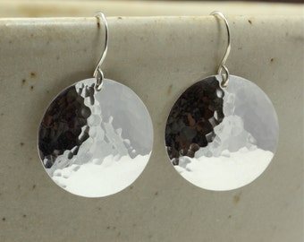 Large Hammered Silver Disc Earrings, Sterling Silver Earrings, Hammered Silver Earrings, Southwestern Earrings, Hammered Earrings
