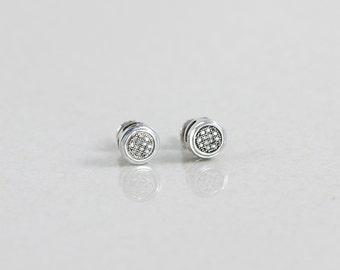 Sterling Silver Diamond Stud Screw Back Earrings