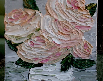 Original  Heavy Impasto  Peach Cream Roses In A Vase  Acrylic Still Life Flowers Palette Knife  Painting.