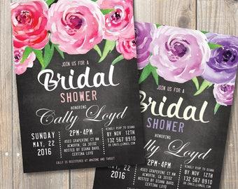 Watercolor Peonies Bridal Shower Invitation, Chalkboard Digital Printable card. DIY