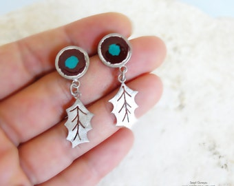 Oak Leaf Silver Earrings, Nature Inspired Jewelry