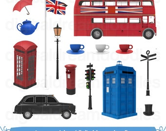 London Clipart, England Clipart, Britain Clip Art, United Kingdom Image, British Taxi Graphic, English Tea Time Scrapbook, Digital Download