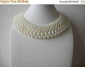 ON SALE Vintage Hand Made Faux Pearls Collar Enhancer Necklace 91317
