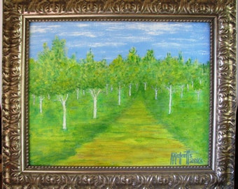 FOREST ROAD 1 - Original Acrylic Painting Framed 25x21 No. 277