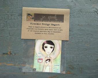 """SALE!  Art Magnet, Flexible fridge magnet, whimsical girl, inspirational art, mother's day, 2.5"""" x 3.5"""" (64 x 89mm) """"Mother Daughter Girls"""""""