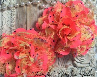 BRIGHT Pink Chiffon Flowers, Yellow Lace, Set of 2, Shabby Chic, Frayed Chiffon, Lace Rose Flowers, 3.5""