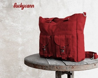 Mother s Day Big Sale BAILEY // Dark Red / Lined with dark Grey / 023 //  Ship in 3 days // Messenger / Diaper bag / Shoulder bag / Tote bag