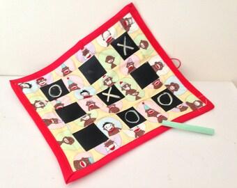 SALE    Monkey Chalkboard fabric tic tac toe roll