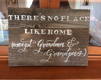 Gift for Grandma, Hand Lettered Sign, Grandma and Grandpa's House Wood Sign