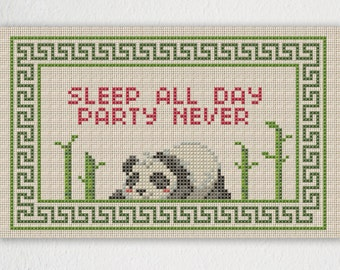 Panda Sleep All Day Party Never Cross Stitch Pattern - Instant Download PDF