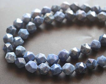 Natural Faceted Dumortierite Nugget Beads,Dumortierite Beads,Star Cut Faceted beads,15'' per strand 6mm 8mm 10mm