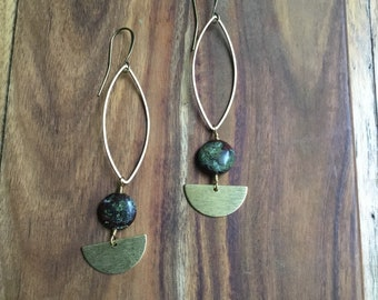 Dragons blood jasper and brass dangle earrings