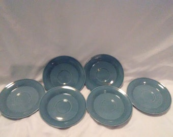Vintage Light Blue Nancy Calhoun Plate Set/Set of FIve (5)/Replacements/Solid Color DInnerware/Fiesta/Spring/Summer Collection/Primitive