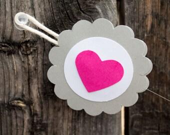 Pink Heart Garland, Valentine's Day Garland, Pink and Gray Garland, Paper Garland, Valentine's Day Decor