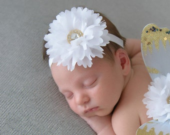 White petal flower headband with gold center button, perfect for all ages, measures 3 inches, birthday headband, baby, by Lil Miss Sweet Pea