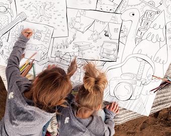 Camping, Kumbaya, Giant coloring poster, Giant coloring, kids game, coloring, poster, kids, black and white, decor