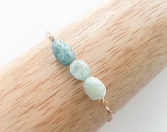 Aquamarine Bangle - Aquamarine Bracelet - Ombre Aquamarine Jewelry - Beryl Jewelry - Beryl Bracelet - Seafoam Green - Gift for Stress