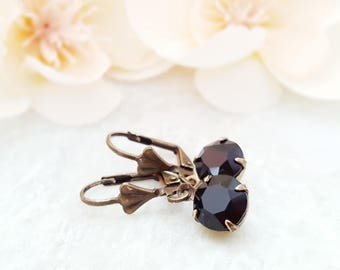 Black Crystal Earrings - Swarovski Black Earrings - Round Black Dangle Earrings - Black Rhinestone Jewelry - Jet Black Earrings Drop E3978