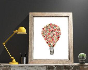 DIGITAL DOWNLOAD // Floral Hot Air Balloon  // Wall Decor, Home Decor, Print, Poster, Gift, Inspirational