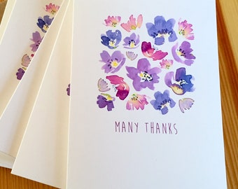 Purple Geranium Watercolor Thank You Note Cards - Floral Thank You Cards - Botanical Note Cards - Flower Thank You Cards - Set of 6