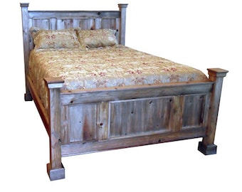 Bed, Headboard, Reclaimed Salvaged Solid Wood Poster Bed, Vintage and Rustic