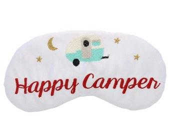 Happy Camper Sleep Mask Glamping Airstream RV Camping Travel Trailer