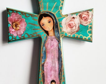 Virgen de Guadalupe - Large Wall Cross Mixed Media Art by FLOR LARIOS