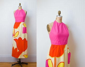 1960s Marimekko Dress / Graphic Print Halter Maxi Dress