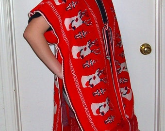 Holiday Red Sweater Tunic Poncho Ties in Front  Vintage circa 1977  bx10   222006829