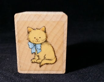 Cute Kitty with Bow Used Rubber stamp View all Photos