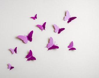 3D Wall Butterflies: 3d butterfly wall art, paper butterflies for woodland nursery decor, purple butterflies in radiant orchid metallic