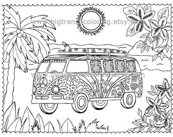 Adult Coloring Page - Colouring - Beach Love Bus - Printable - Instant Download