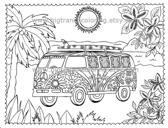 Adult Coloring Page Colouring Beach Love Bus Printable