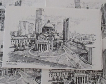 Vintage Pen and Ink Notecards Blank Cards The First Church of Christ Scientist Boston Mass Blank Notecard YourFineHouse Vintage Stationery