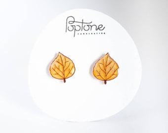 Aspen Leaf Earrings, Aspen studs, yellow leaf earrings, autumn leaf jewelry, aspen leaves