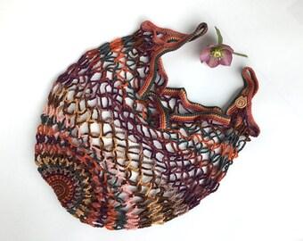 Crochet shopping bag, Multicolour market bag, Autumn theme, Gift for colour lovers