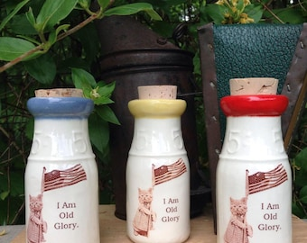 Ceramic Milk Bottle, Vintage cat illustration, Patriotic Cat Milk Bottle, Cat Milk Bottle, Ceramic Flag Bottle, Ceramic Cork Jar