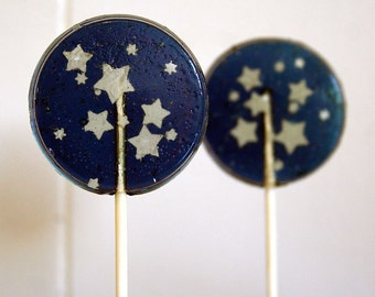 Starry Night Wedding Favor Lollipops Set of 5, Navy Blue and White Edible Sugar Stars, Blue Wedding Favor, Boy Baby Shower Favors, Celestial