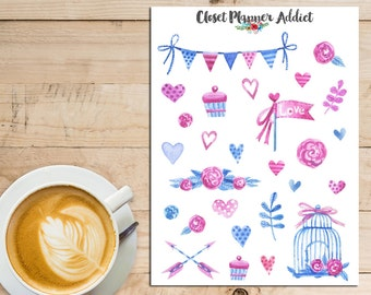 Love Collection Watercolour Planner Stickers   Watercolour Stickers   Watercolour Flowers   Floral Stickers (S-027)