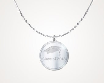 """Graduation Jewelry - Graduation Gift """"Class of 2018"""" .925 Sterling Silver Necklace"""