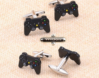 Gamepad Remote cufflinks ,Game Console gamer ,player play Video Game,keyboards technology artwork controllers cufflinks, gamer cuff links