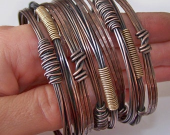 Copper Bangles Bracelets - 9 Stacking Bangles - Stackable Bangles - Copper Bangles - Made to Order