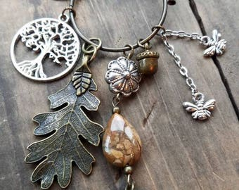 Multi Charm Forest Themed Necklace, Nature Charm Cluster Necklace, Bronze Squirrel & Tree Charm Necklace, Long Sweater Charm Necklace