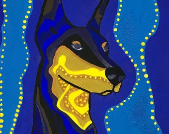 Doberman Pinscher Gouache Painting, Doberman Pinscher Portrait Painting, Dog Painting, Doberman Painting