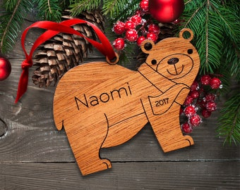 Baby Ornament: Wooden Christmas Bear Personalized Name & Date, First Christmas, Kids, Woodland Animals