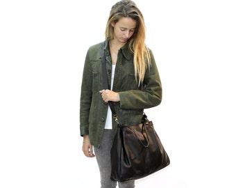 Sale!!! Black leather crossbody bag Women Black messenger leather bag Large leather bag, Light weight leather bag