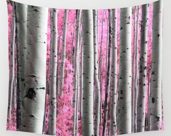 Tree Wall Tapestry, Surreal Forest Wall Art, Modern, Home, Nature, Tree, Dorm, office, Pink Trees Tapestry, Contemporary Art, Woods Tapestry