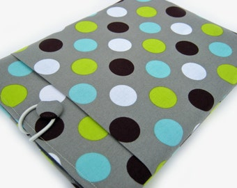 Macbook Air Case, Macbook Air Cover, Macbook 12 inch Case, 11 Inch Macbook Air Case, Laptop Sleeve, Green and Blue Polka Dots