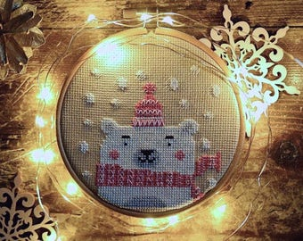 INSTANT DOWNLOAD Cute Polar Bear PDF counted cross stitch patterns by Punochka holidays Christmas December November