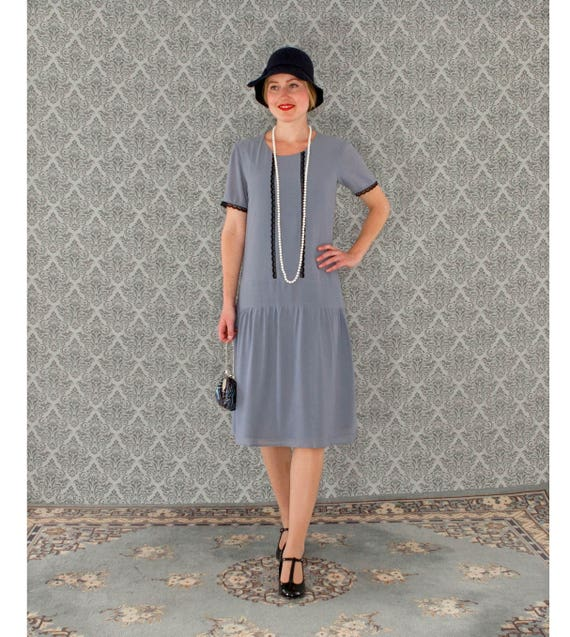 1920s Day Dresses, Tea Dresses, Mature Dresses with Sleeves Grey Great Gatsby dress with short sleeves $130.00 AT vintagedancer.com